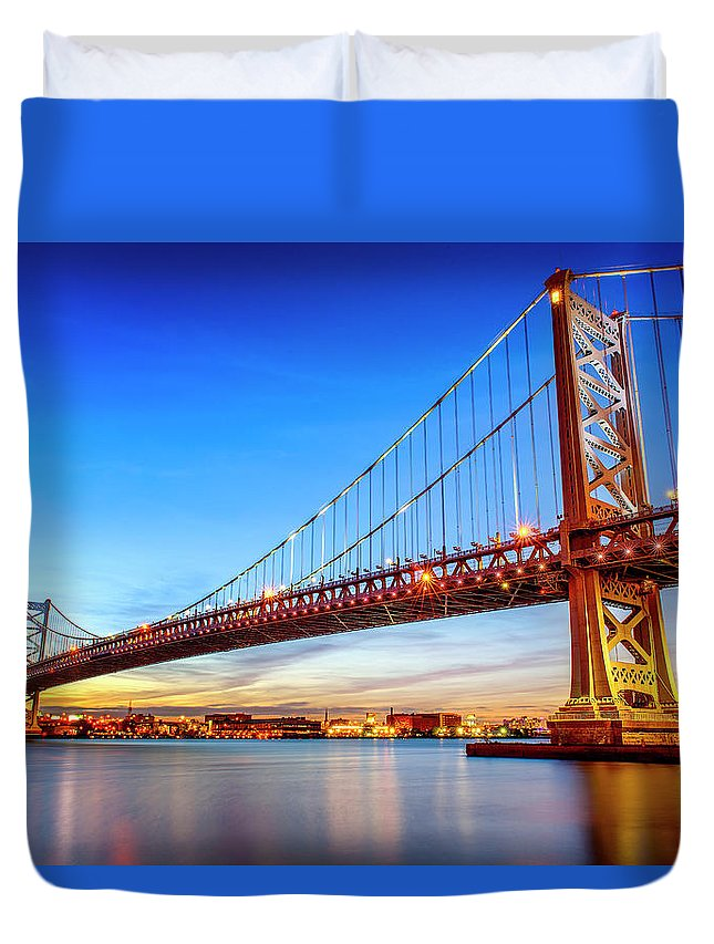 Built Structure Duvet Cover featuring the photograph Benjamin Franklin Bridge, Philadelphia by Jasbassi Photography