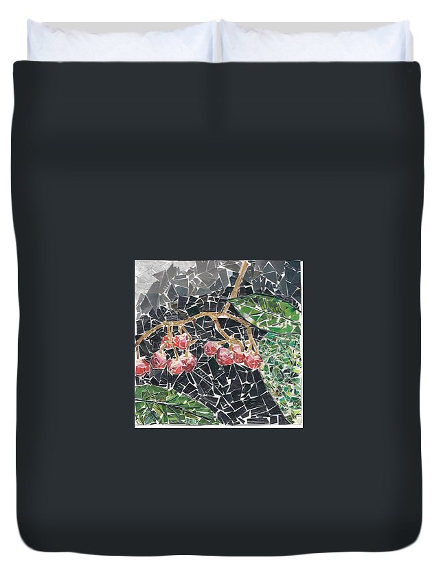 Berries Duvet Cover featuring the mixed media Berries by Karla Clark