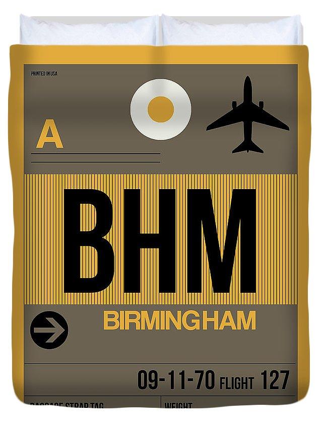 Birmingham Duvet Cover featuring the digital art Bhm Birmingham Luggage Tag I by Naxart Studio