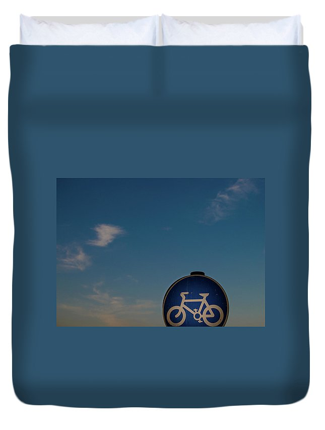 Outdoors Duvet Cover featuring the photograph Bicycle Sign With Sky by Photography By Stuart Mackenzie (disco~stu)