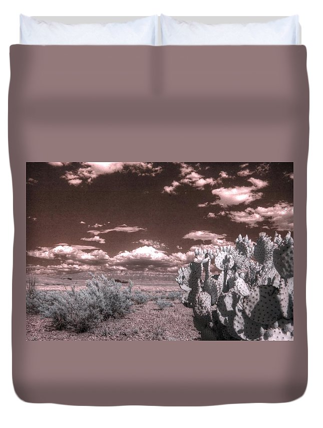 Cactus Duvet Cover featuring the photograph Big Bend Cactus Landscape Infrared by Jane Linders