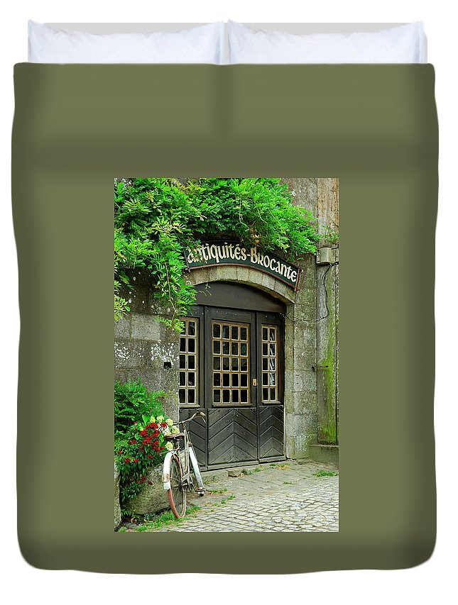 Antique Shop Duvet Cover featuring the photograph Bike And Door by Maica