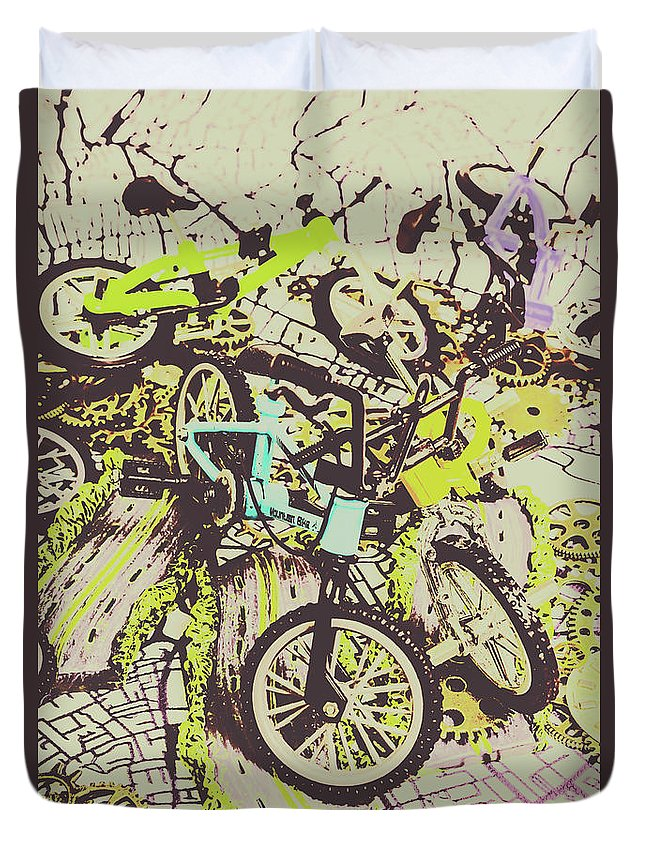 Bike Duvet Cover featuring the photograph Bikes And City Routes by Jorgo Photography - Wall Art Gallery