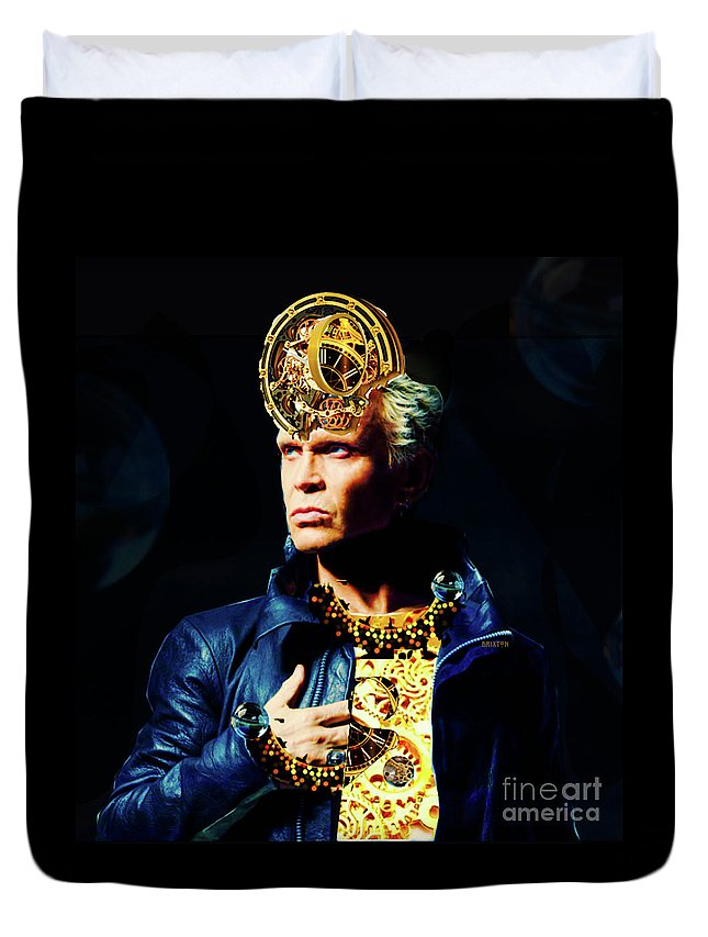 Billy Duvet Cover featuring the digital art Billy Idol by Benny Brixton