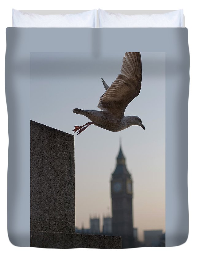 Clock Tower Duvet Cover featuring the photograph Bird Takeoff by Photograph © Jon Cartwright