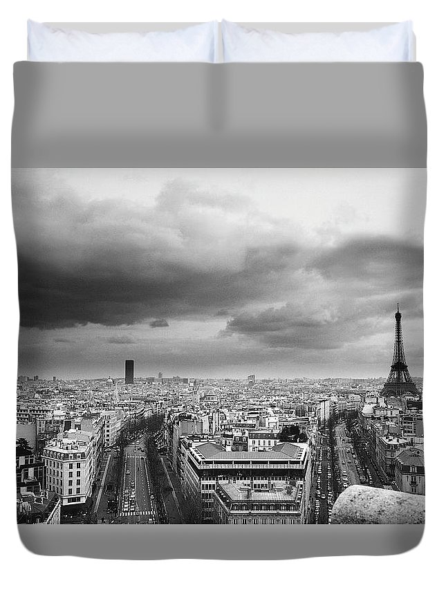Black Color Duvet Cover featuring the photograph Black And White Aerial View Of An by Stockbyte