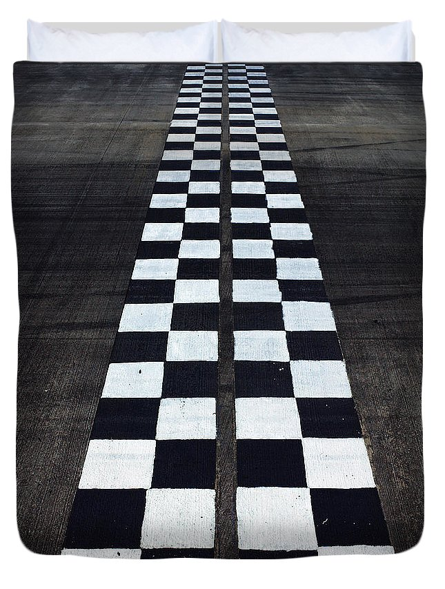 Finish Line Duvet Cover featuring the photograph Black And White Finish Line by Win-initiative/neleman