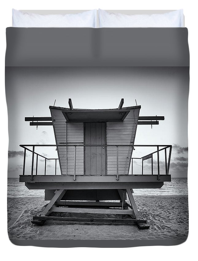 Outdoors Duvet Cover featuring the photograph Black And White Lifeguard Stand In by Boogich