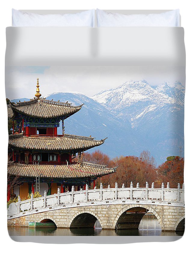 Chinese Culture Duvet Cover featuring the photograph Black Dragon Pool Park by Tuul & Bruno Morandi