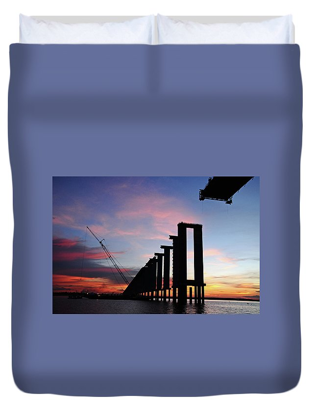 Tranquility Duvet Cover featuring the photograph Black River Bridge by Fabionutti