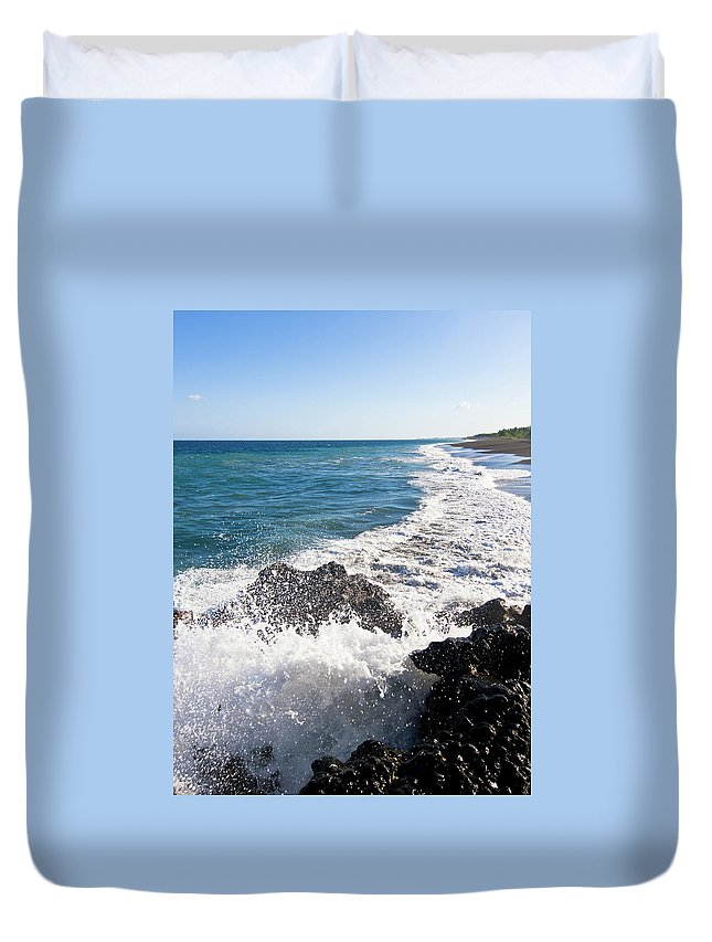 Long Duvet Cover featuring the photograph Black Sand Beach by Davorlovincic