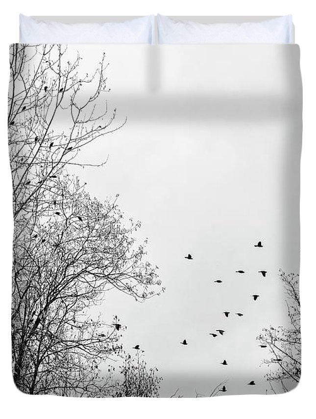 Rusty Blackbirds Duvet Cover featuring the photograph Blackbird Conference by Priska Wettstein