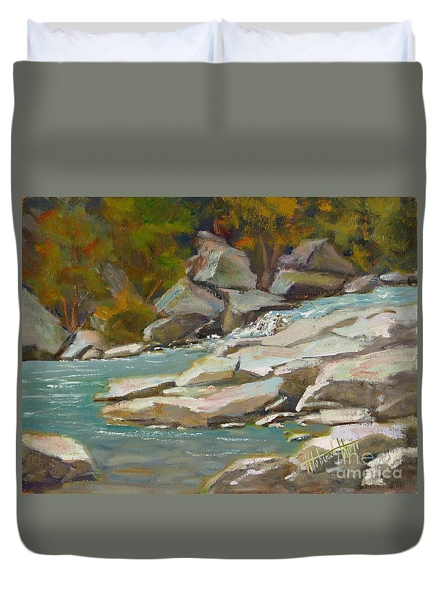 Painting Duvet Cover featuring the painting Blindman River, Blackfalds by Mohamed Hirji