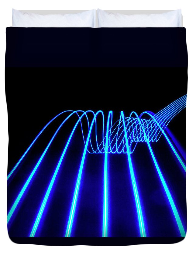 Laser Duvet Cover featuring the photograph Blue Abstract Coloured Lights Trails by John Rensten