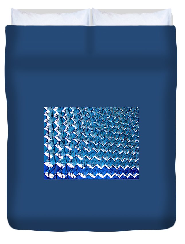 New Delhi Duvet Cover featuring the photograph Blue Abstract Structure Of Geometrical by Baxsyl