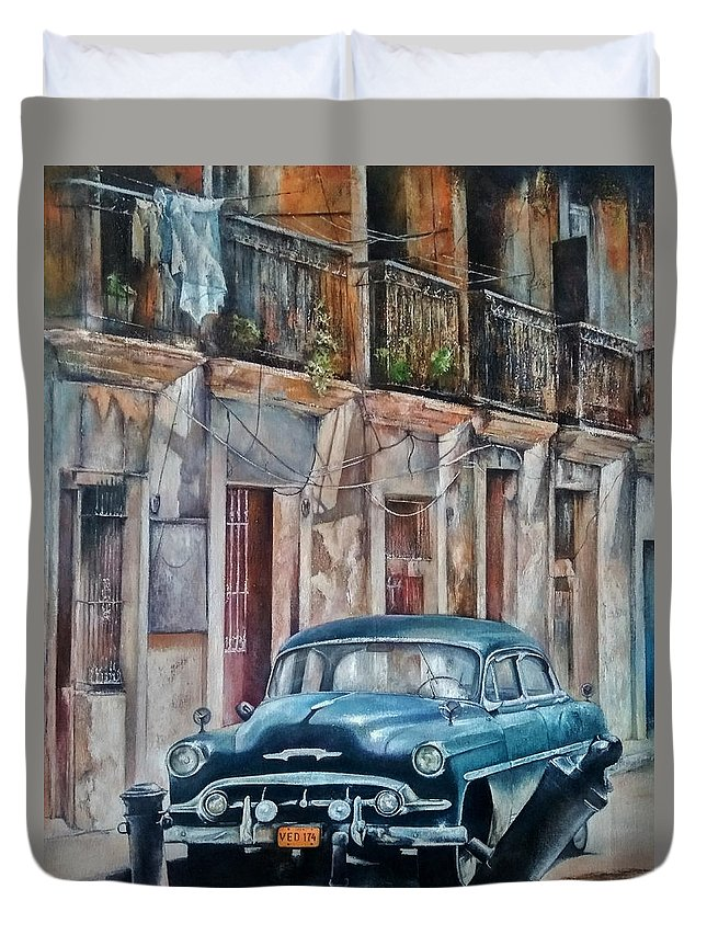 Car Duvet Cover featuring the painting Blue car-Old Havana by Tomas Castano