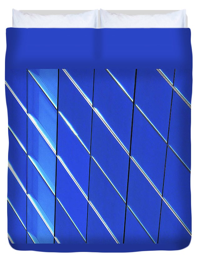 Outdoors Duvet Cover featuring the photograph Blue Glass Modern Building by Joelle Icard