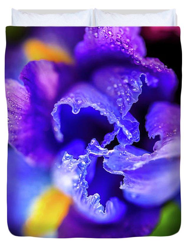Beautiful Duvet Cover featuring the photograph Blue Iris Dance by Az Jackson