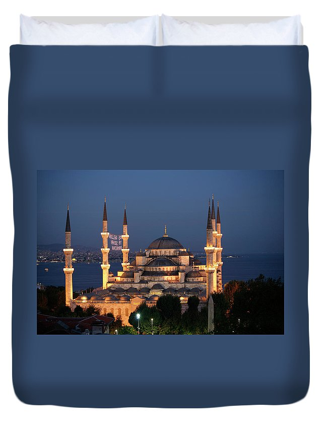 Istanbul Duvet Cover featuring the photograph Blue Mosque In Istanbul by Ayse Topbas