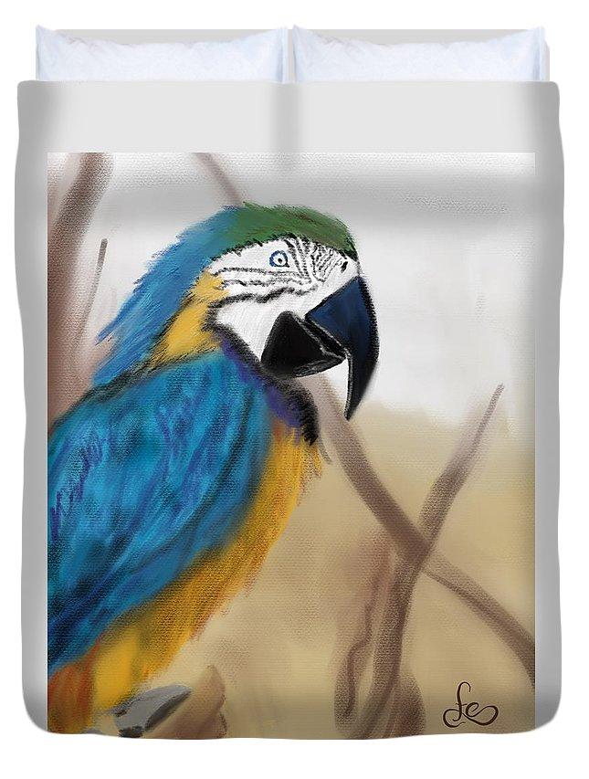 Parrot Duvet Cover featuring the digital art Blue Parrot by Fe Jones