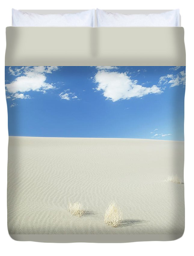 Sand Dune Duvet Cover featuring the photograph Blue Sky Over Sand Dune by Bryan Mullennix