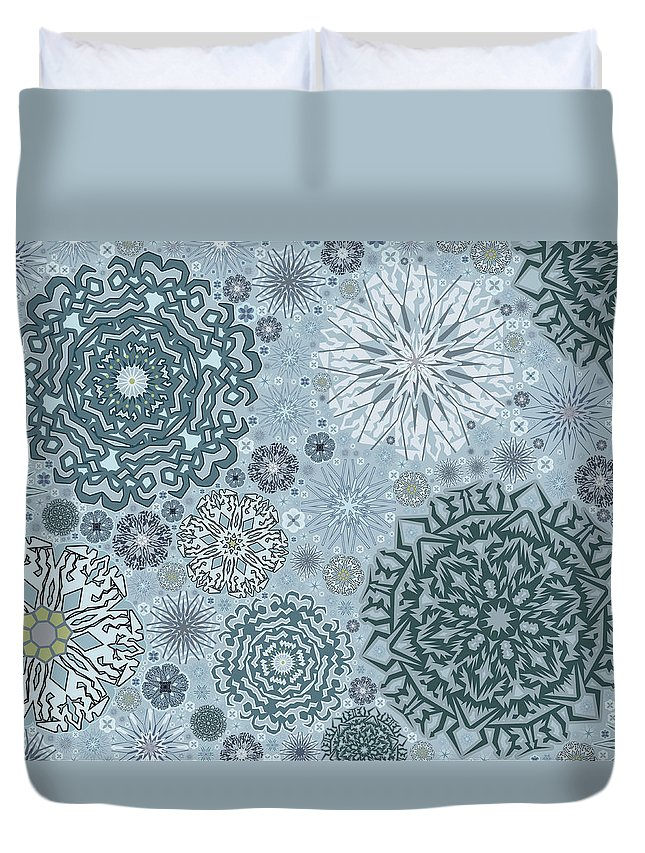 Art Duvet Cover featuring the digital art Blue Snowflake Pattern by Bodhi Hill