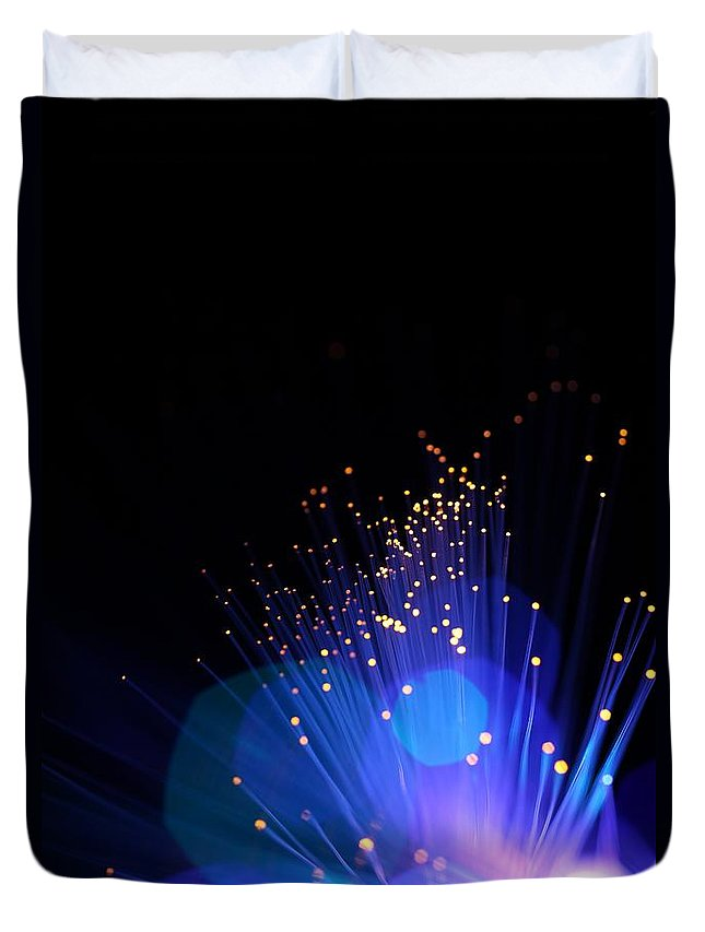 Funky Duvet Cover featuring the photograph Blue Sparkle Lights by Merrymoonmary