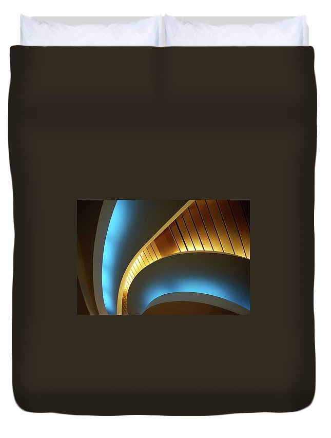 Curve Duvet Cover featuring the photograph Blue Swirl by Copyright Ralph Grunewald