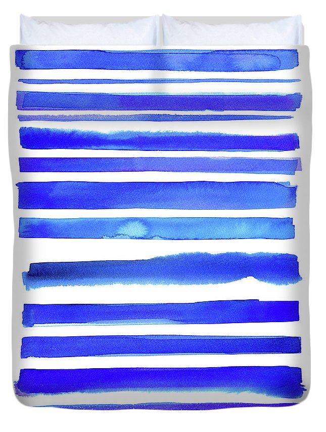 Art Duvet Cover featuring the digital art Blue Textured Stripes by Johnwoodcock
