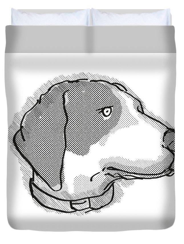 Retro Duvet Cover featuring the digital art Bluetick Coonhound Dog Breed Cartoon Retro Drawing by Aloysius Patrimonio