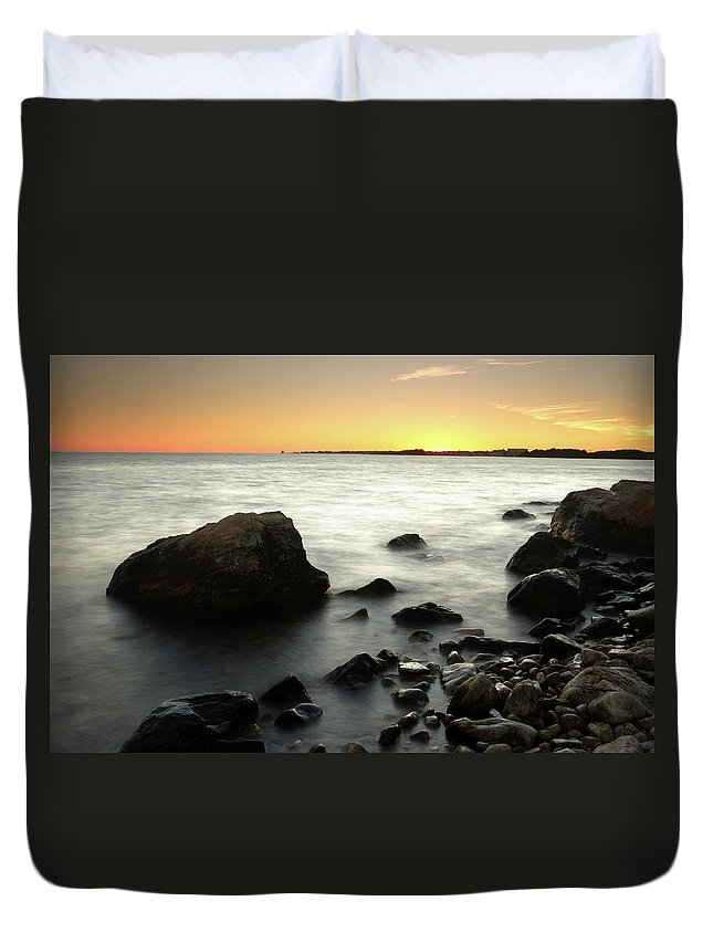 Water's Edge Duvet Cover featuring the photograph Bluff Point Sunset by Ericfoltz