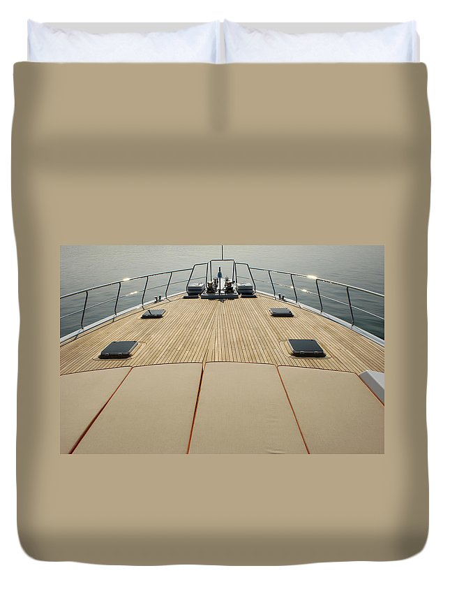 Seascape Duvet Cover featuring the photograph Boat Deck by 1001nights