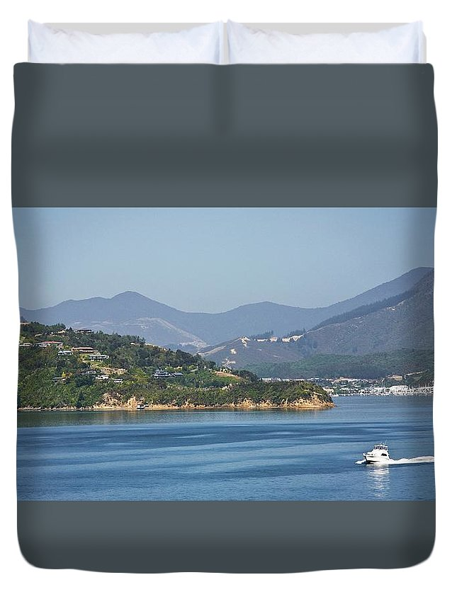 Panoramic Duvet Cover featuring the photograph Boat On Water, Queen Charlotte Sound by Design Pics / John Doornkamp