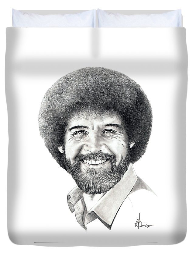 Pencil Duvet Cover featuring the drawing Bob Ross by Murphy Elliott