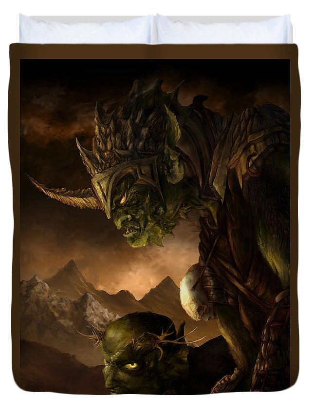 Goblin Duvet Cover featuring the mixed media Bolg The Goblin King by Curtiss Shaffer
