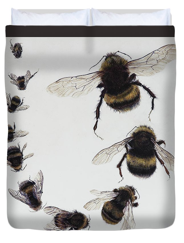 Nature Duvet Cover featuring the painting Bombus by Odile Kidd