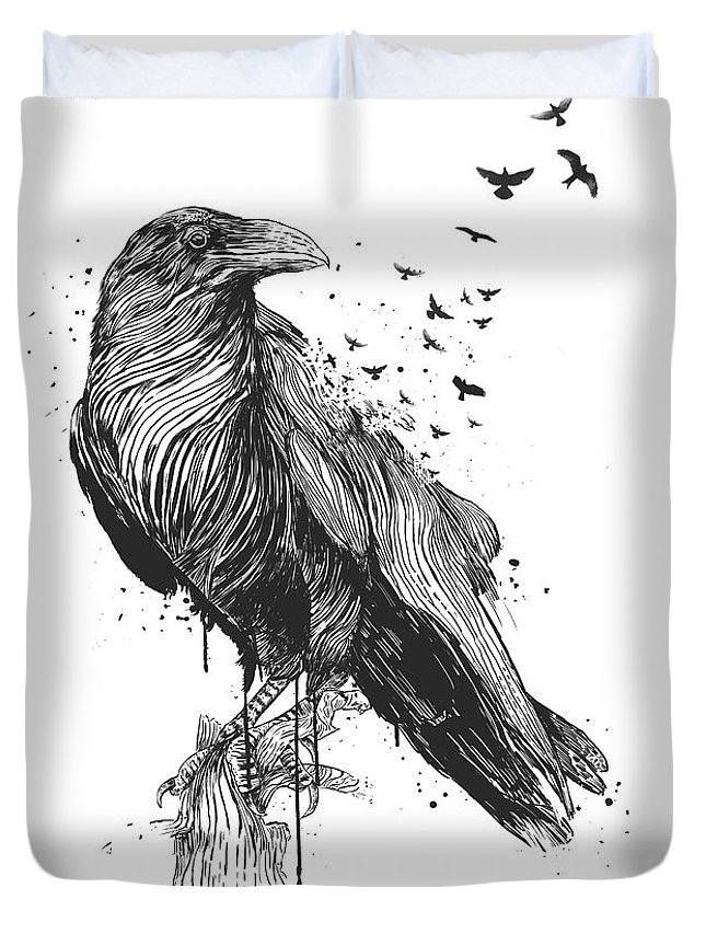Bird Duvet Cover featuring the drawing Born to be free by Balazs Solti