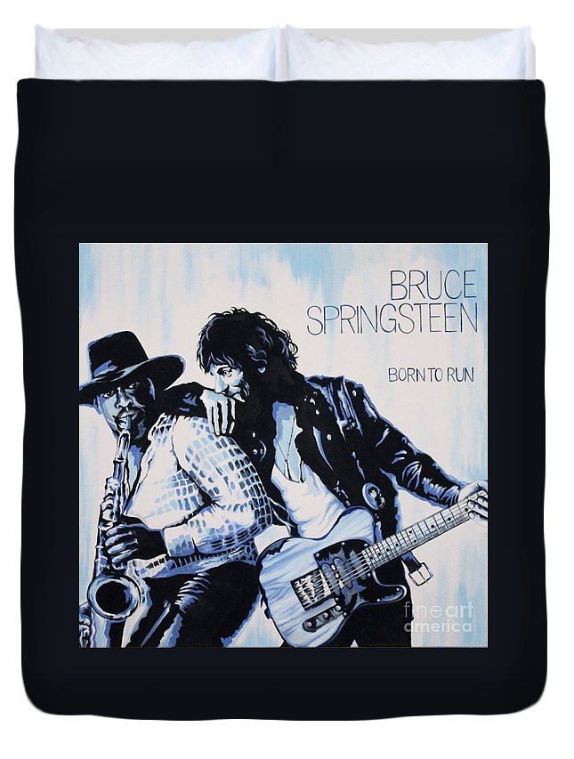 Bruce Springsteen Duvet Cover featuring the painting Born to Run Bruce Springsteen by Amy Belonio