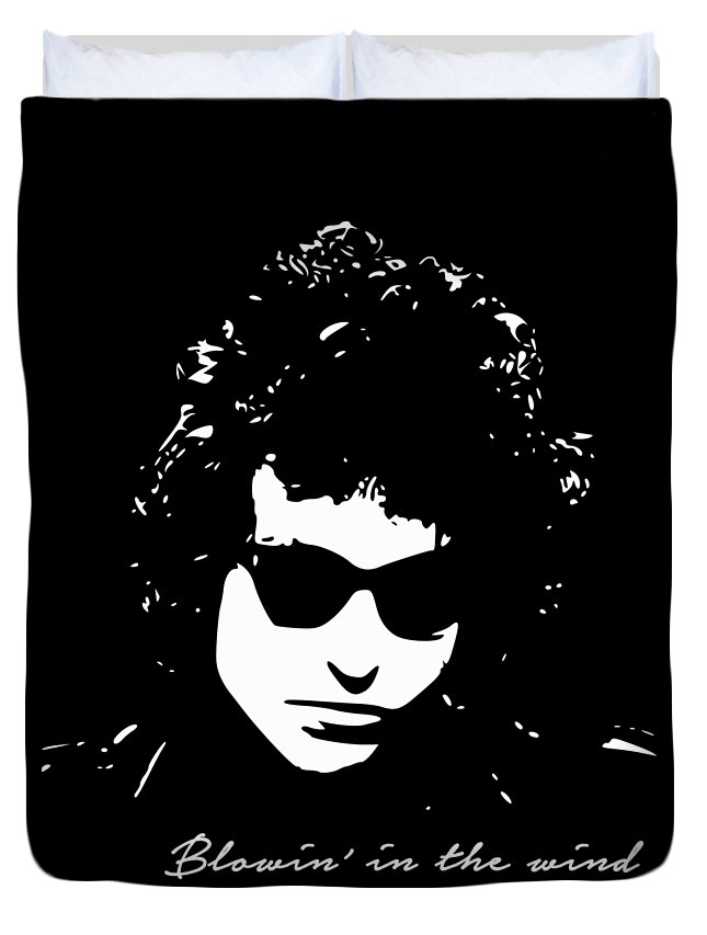 Bob Dylan Duvet Cover featuring the digital art Bowin' In The Wind by Filip Schpindel