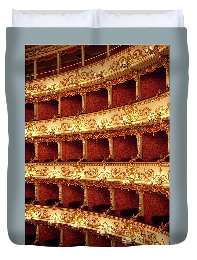 Event Duvet Cover featuring the photograph Boxes Of Italian Antique Theater by Naphtalina