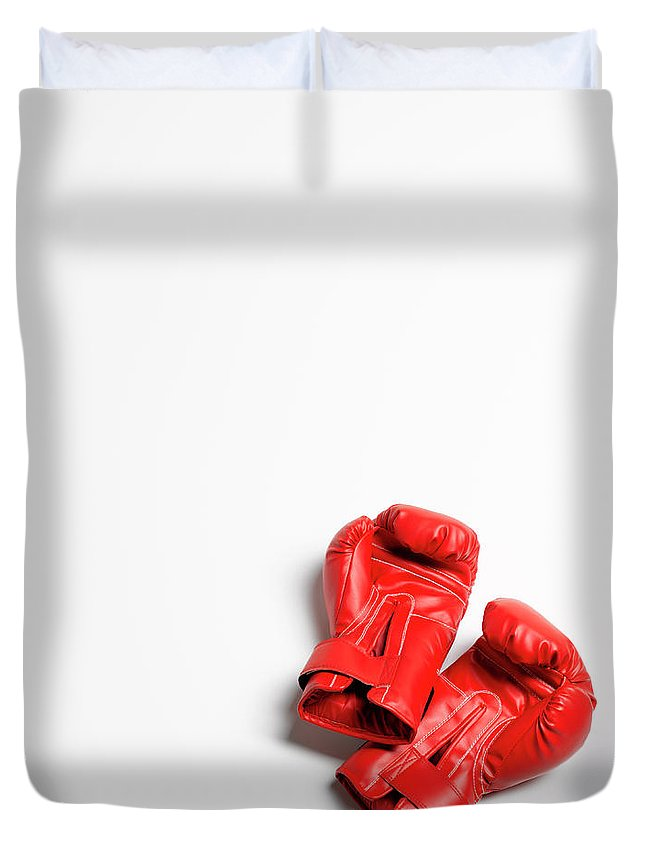 The End Duvet Cover featuring the photograph Boxing Gloves On White Background by Peter Dazeley