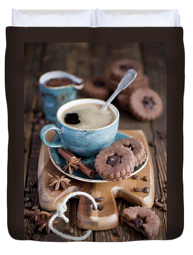 Breakfast Duvet Cover featuring the photograph Breakfast Coffee And Chocolate Cookies by Verdina Anna