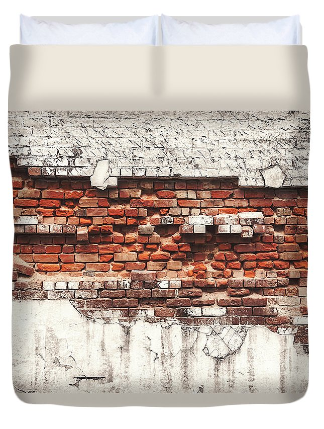 Tranquility Duvet Cover featuring the photograph Brick Wall Falling Apart by Ty Alexander Photography