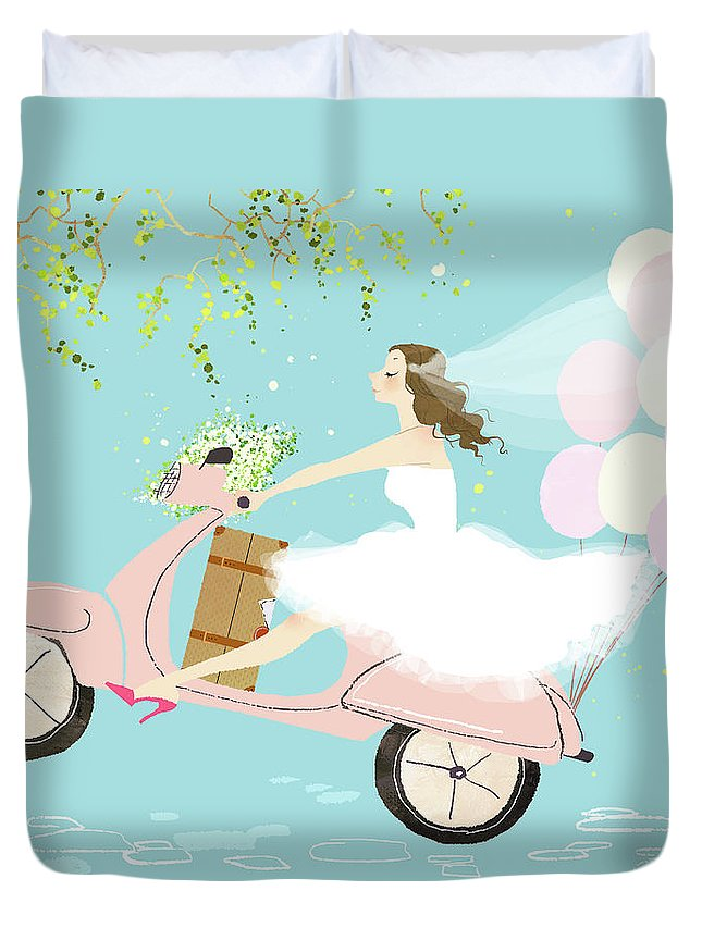 People Duvet Cover featuring the digital art Bride On Scooter by Eastnine Inc.