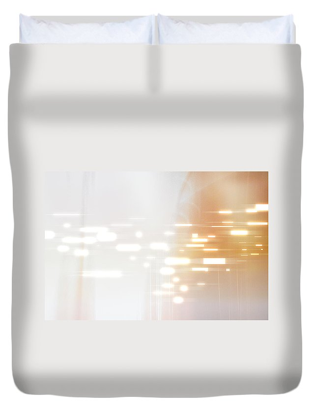 Motion Duvet Cover featuring the digital art Bright Lights Abstract by Stockbyte