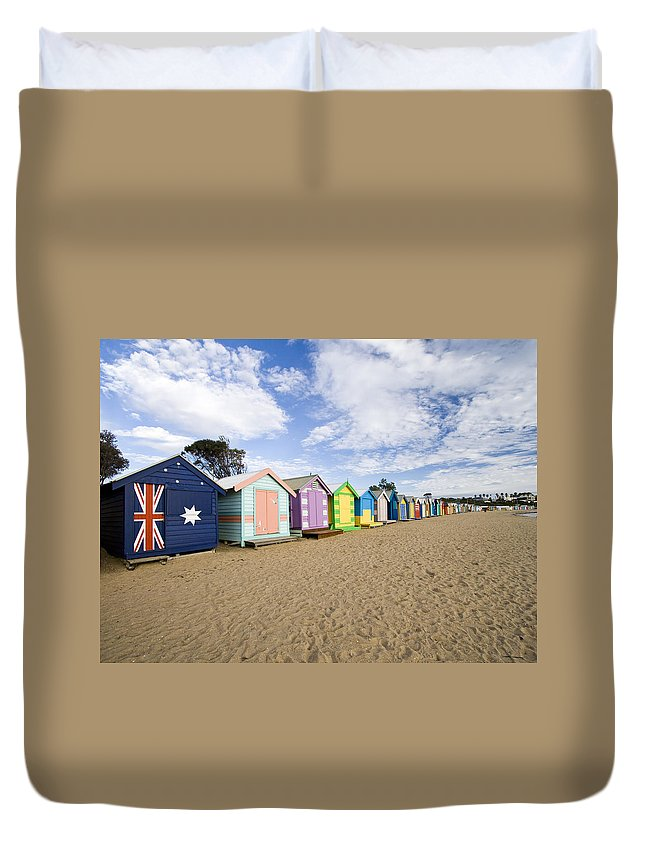 Steps Duvet Cover featuring the photograph Brighton Beach Huts by Samvaltenbergs
