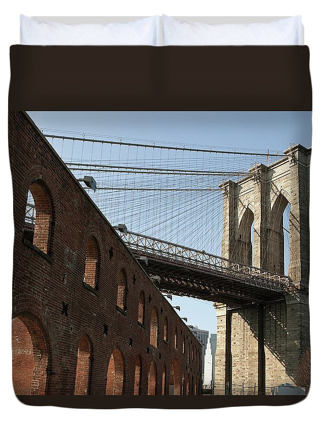 Arch Duvet Cover featuring the photograph Brooklyn Bridge & Empire Fulton Ferry by Just One Film