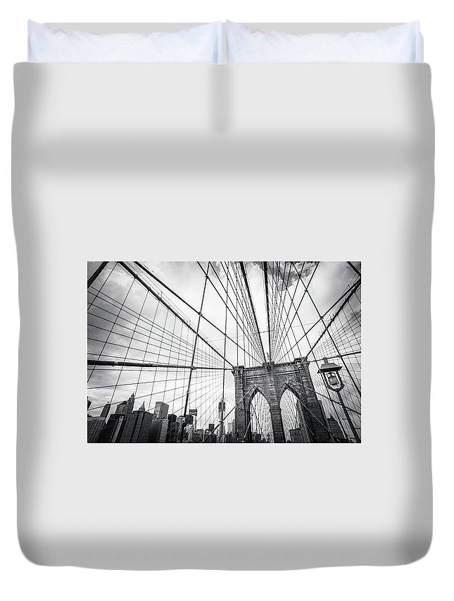 Downtown District Duvet Cover featuring the photograph Brooklyn Bridge And New York Skyline by Cirano83