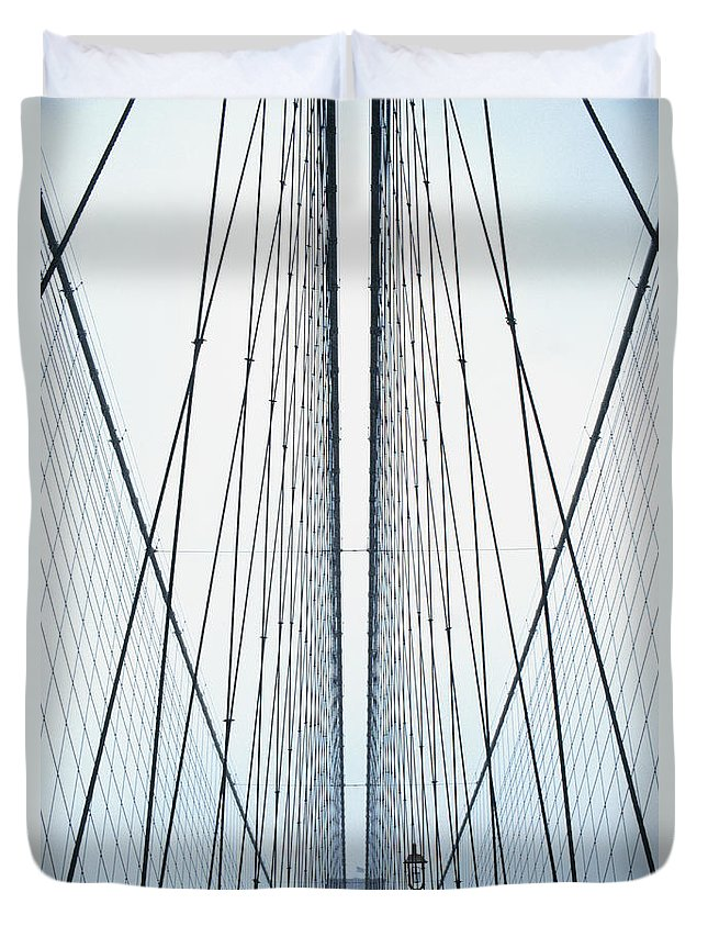 Suspension Bridge Duvet Cover featuring the photograph Brooklyn Bridge by Eric O'connell