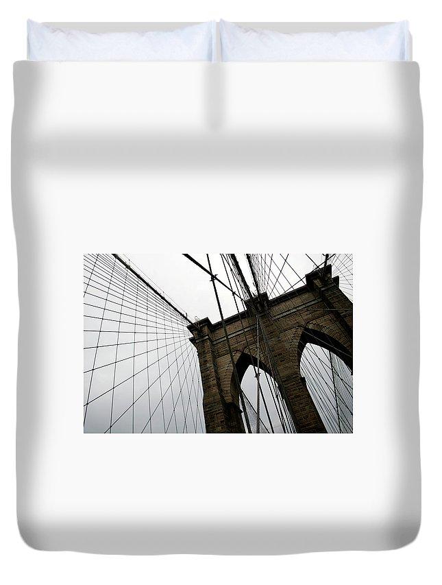 Suspension Bridge Duvet Cover featuring the photograph Brooklyn Bridge by Penfold